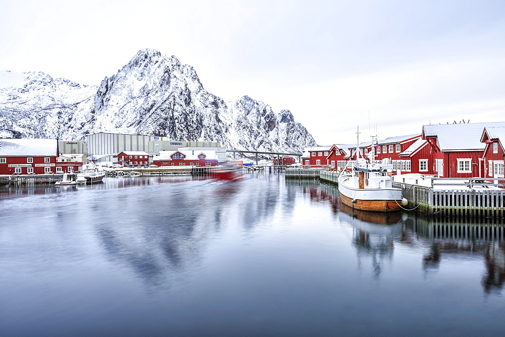 Port of Svolvaer with its dark red houses on stilts typical of each port in the Lofoten Islands, Arctic, Norway, Scandinavia, Europe