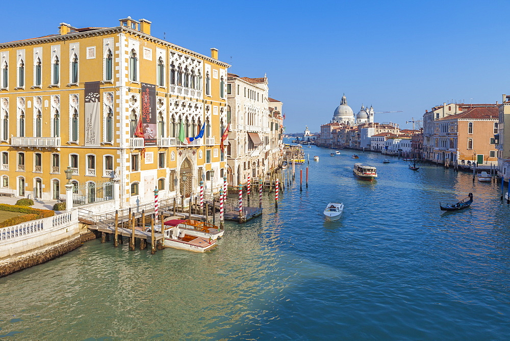 View of the old Palazzo Cavalli Franchetti overlooking the Canal Grande Venice Veneto Italy Europe