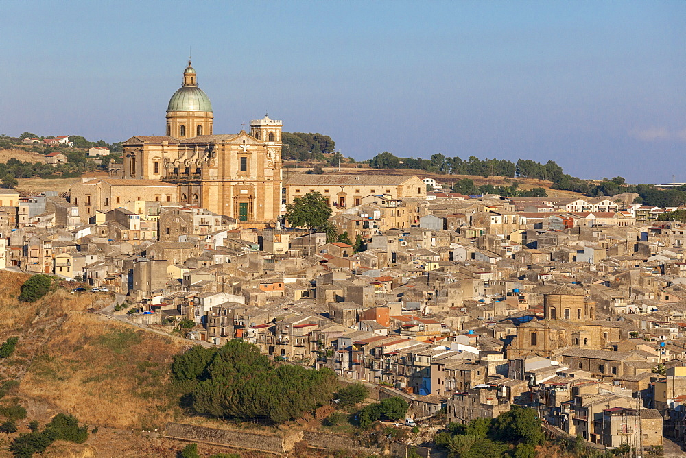 The ancient baroque old town and dome of cathedral of Piazza Armerina province of Enna Sicily Italy Europe