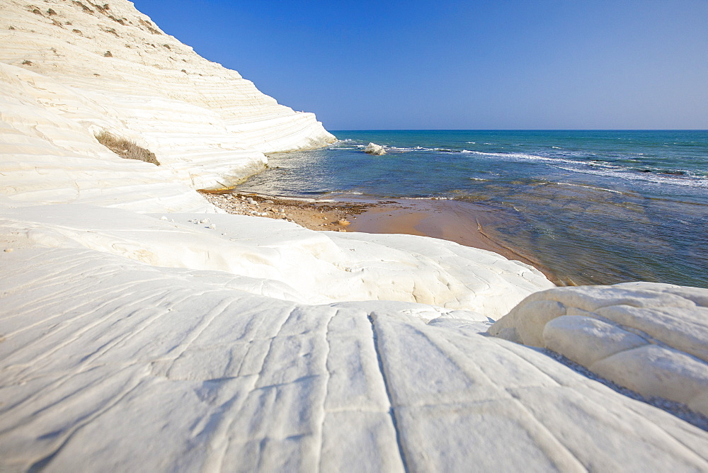 White cliffs known as Scala dei Turchi frame the turquoise sea Porto Empedocle province of Agrigento Sicily Italy Europe