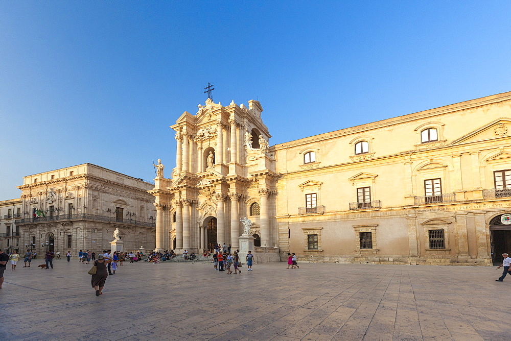 The ancient baroque facade of Cattedrale di San Nicolò di Mira Noto province of Syracuse Sicily Italy Europe
