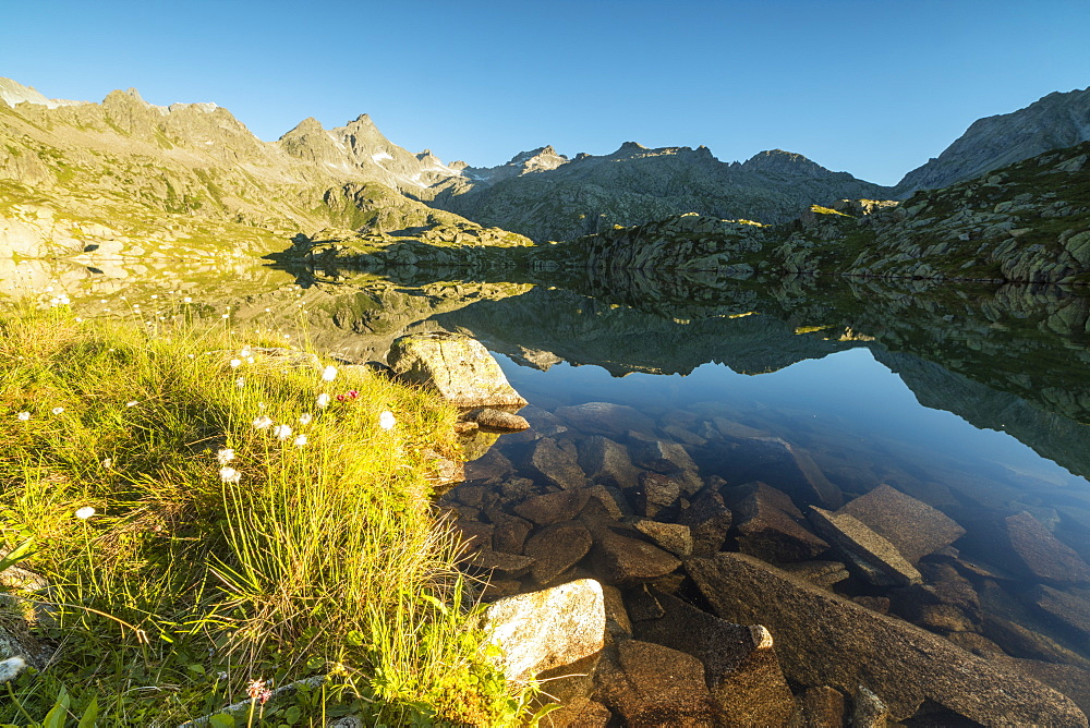 The rocky peaks reflected in Lago Nero at dawn, Cornisello, Pinzolo, Brenta Dolomites, Trentino-Alto Adige, Italy, Europe