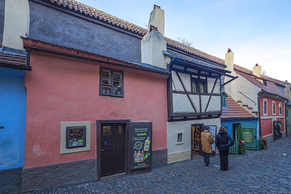 Typical houses and shops in the old alleys of Prague, Czech Republic, Europe