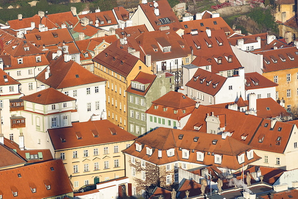 View of typical architecture of houses and buildings, Prague, Czech Republic, Europe