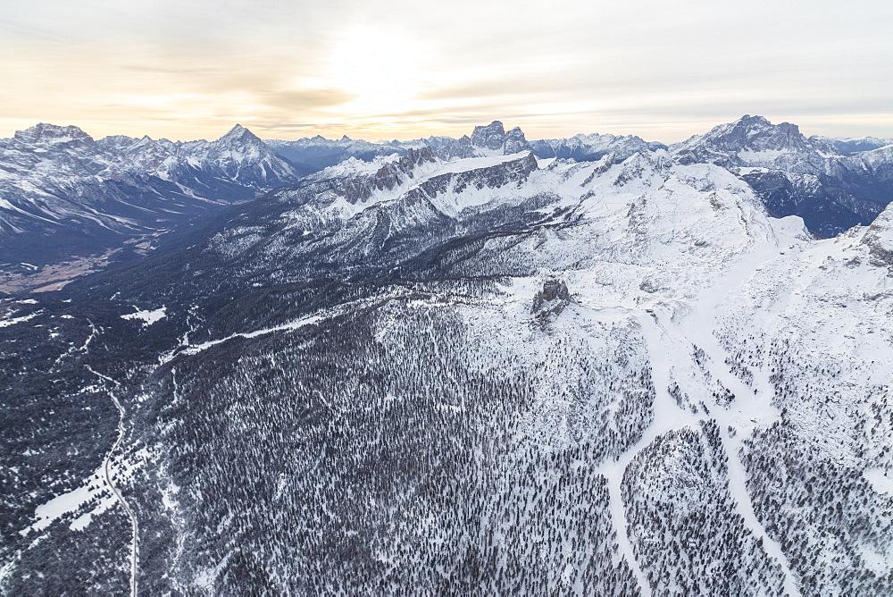 Aerial view of the snowy ridges of the Cinque Torri, Dolomites, Cortina d'Ampezzo, Province of Belluno, Veneto, Italy, Europe
