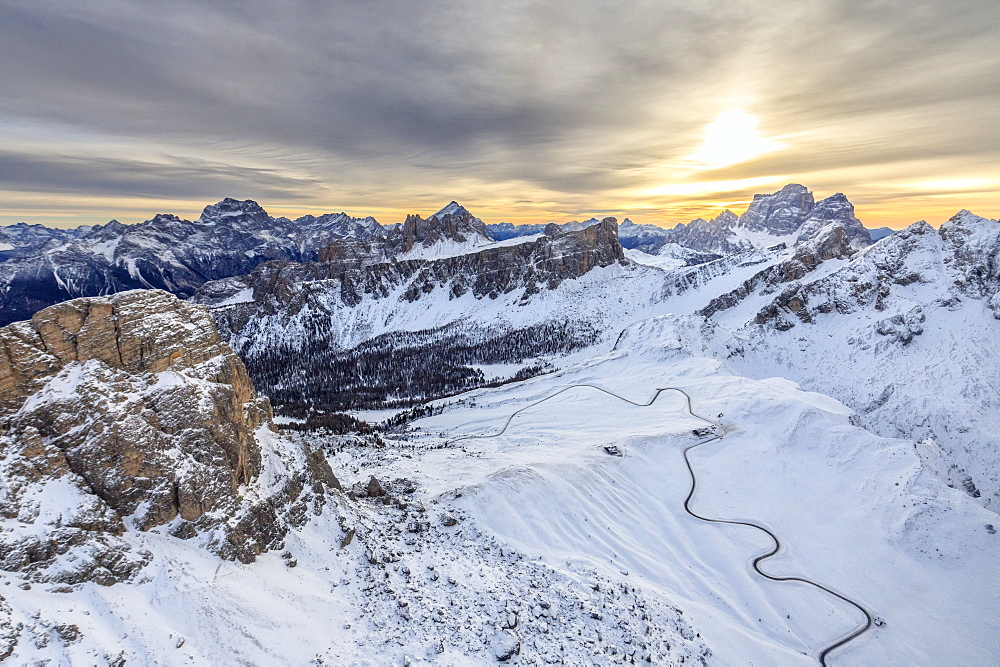 Aerial view of the snowy peaks of Giau Pass Ra Gusela and Lastoi De Formin, Cortina d'Ampezzo, Dolomites, Veneto, Italy, Europe