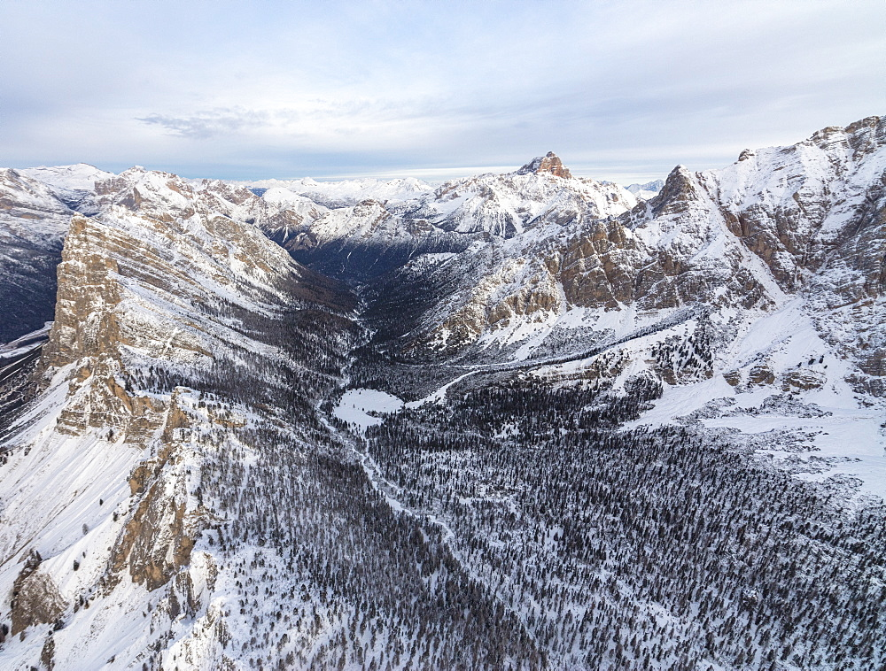 Aerial view of rocky peaks of Val Padeon and snowy woods, Cortina d'Ampezzo, Province of Belluno, Dolomites, Veneto, Italy, Europe
