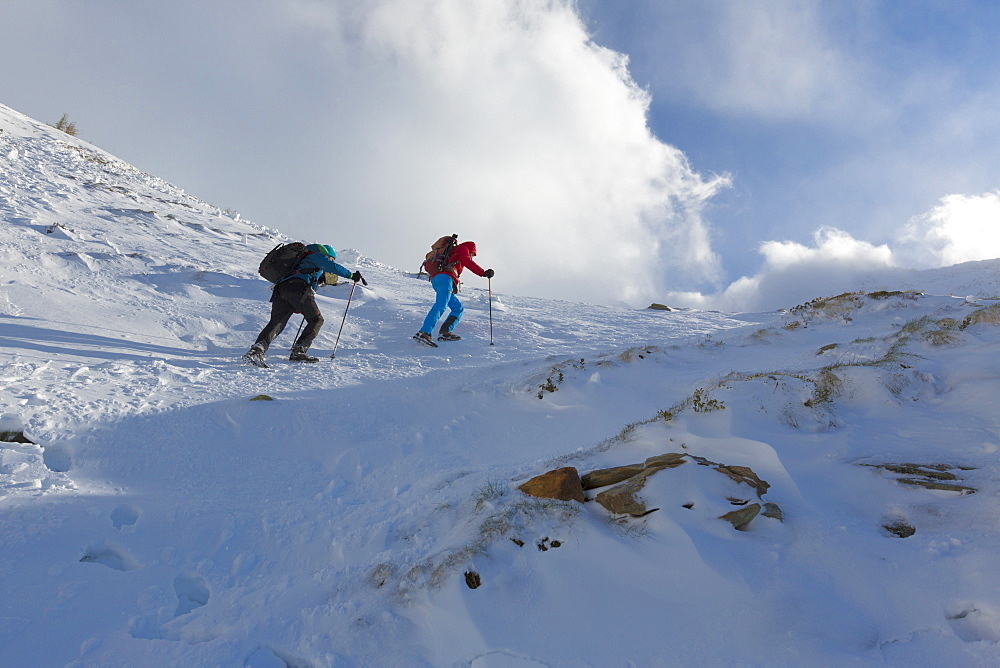 Hikers proceed in the snowy valley of Alpe Fora, Malenco Valley, Province of Sondrio, Valtellina, Lombardy, Italy, Europe
