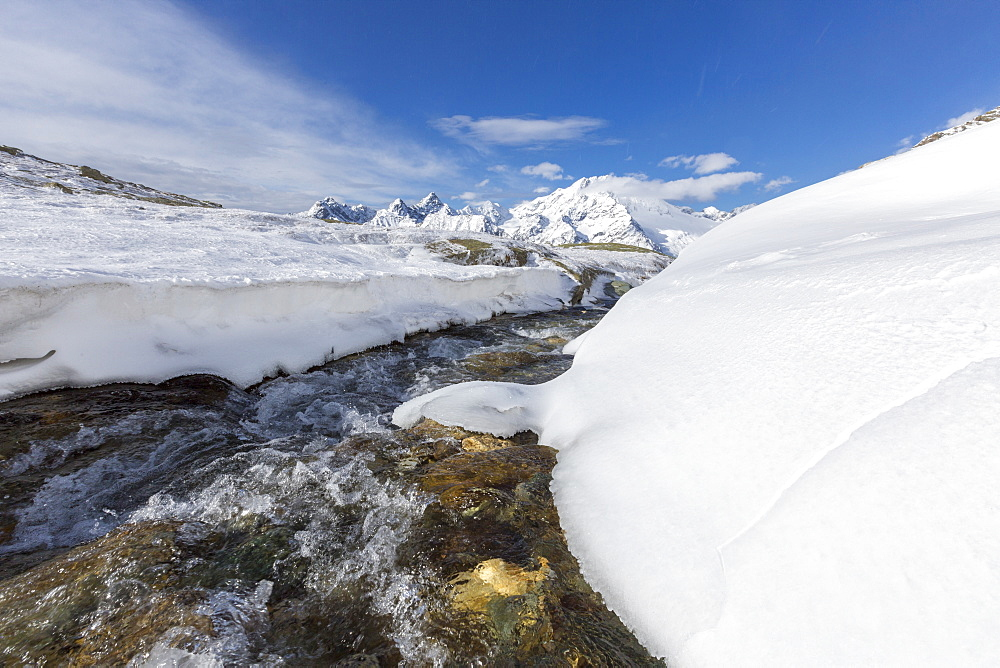 A creek in the snowy vallley with Monte Disgrazia in the background, Malenco Valley, Province of Sondrio, Valtellina, Lombardy, Italy, Europe