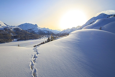 Footprints marching towards the Maloja Pass under a sun veiled by the mist in a cold winter day.