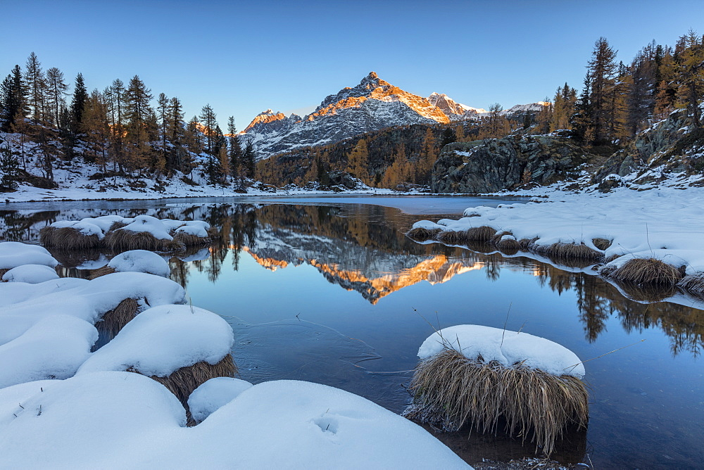 The rocky peak reflected in the frozen Lake Mufule at dawn, Malenco Valley, Province of Sondrio, Valtellina, Lombardy, Italy, Europe - 1179-1883