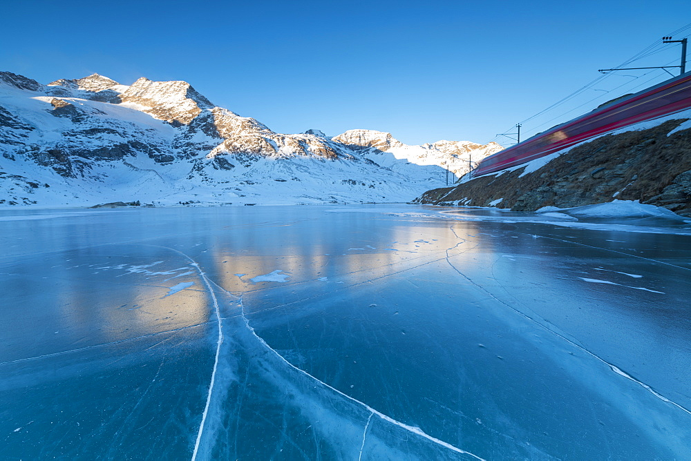 The Bernina Express train runs beside the frozen Lago Bianco, Bernina Pass, canton of Graubunden, Engadine, Switzerland, Europe