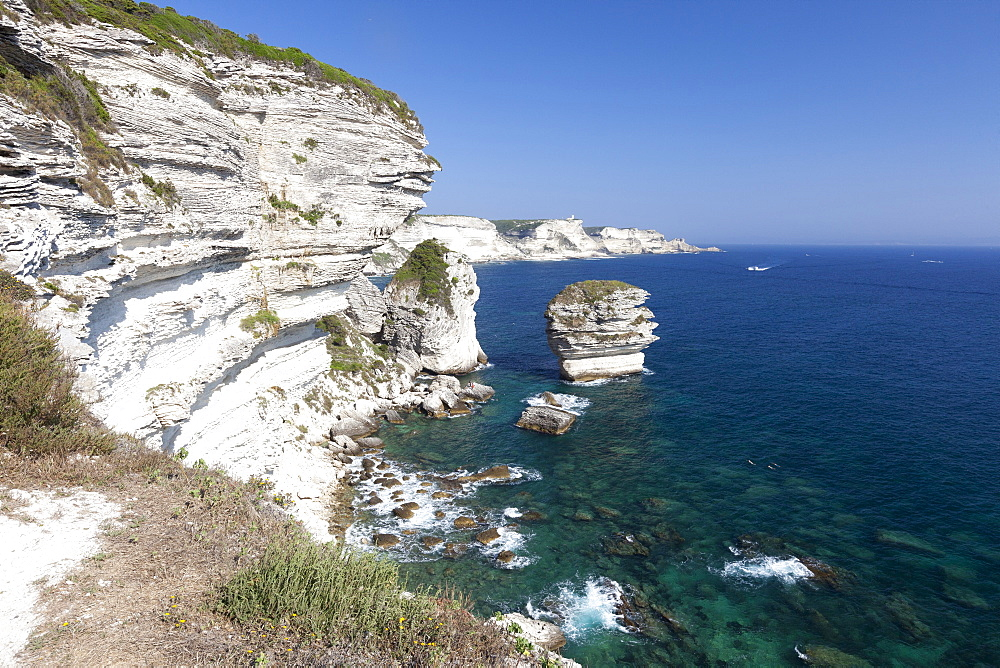Sun shines on the white limestone cliffs framed by the turquoise sea, Bonifacio, Corsica, France, Mediterranean, Europe