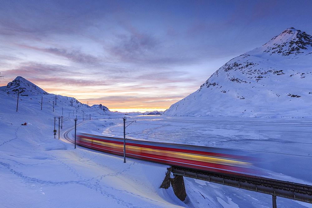 The Bernina Express red train, UNESCO World Heritage Site, Graubunden, Swiss Alps, Switzerland, Europe  - 1179-199