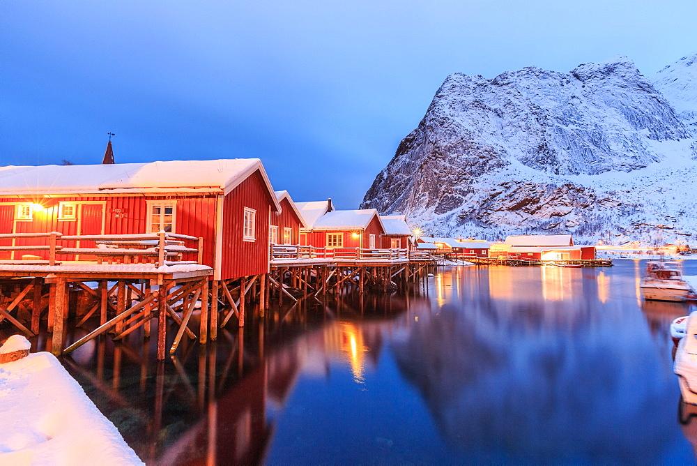 The Rorbu, the Norwegian red houses built on stilts in the bay of Reine in the Lofoten Islands, Arctic, Norway, Scandinavia, Europe
