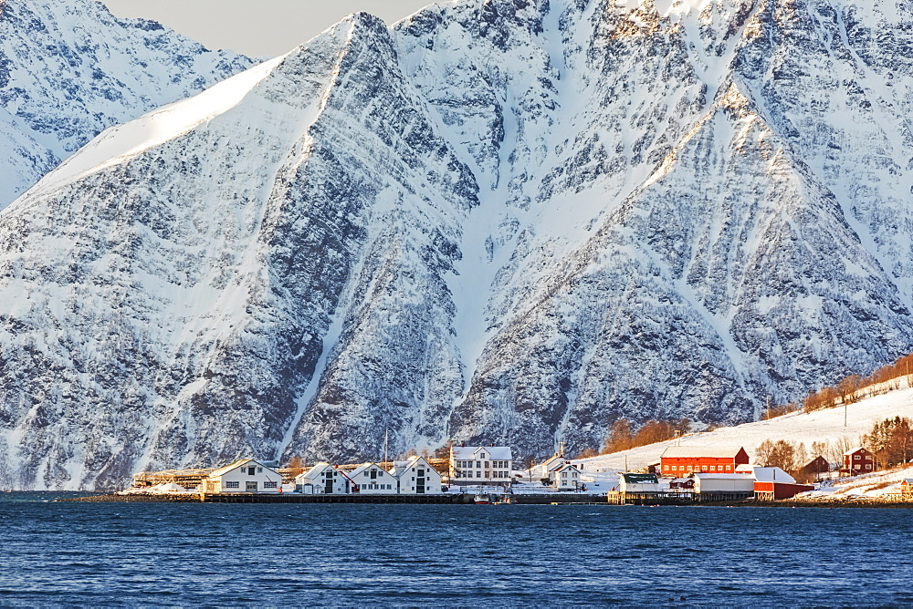 The typical fishing village of Hamnes framed by snowy peaks and the cold sea Lyngen Alps Tromsø Norway Europe