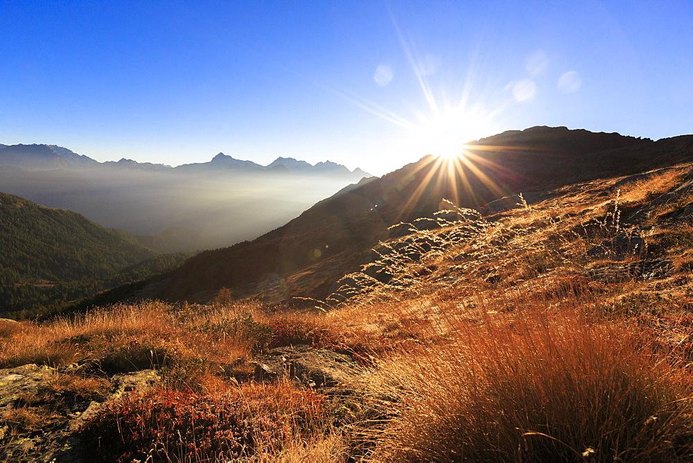 Sunbeams on alpine pastures with peak Scalino in the background, Val Torreggio, Malenco Valley, Valtellina, Lombardy, Italy, Europe