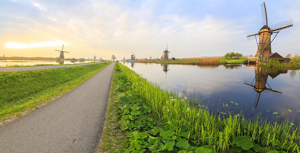 Panorama of the typical windmills reflected in the canals at dawn, Kinderdijk, UNESCO World Heritage Site, Molenwaard, South Holland, The Netherlands, Europe