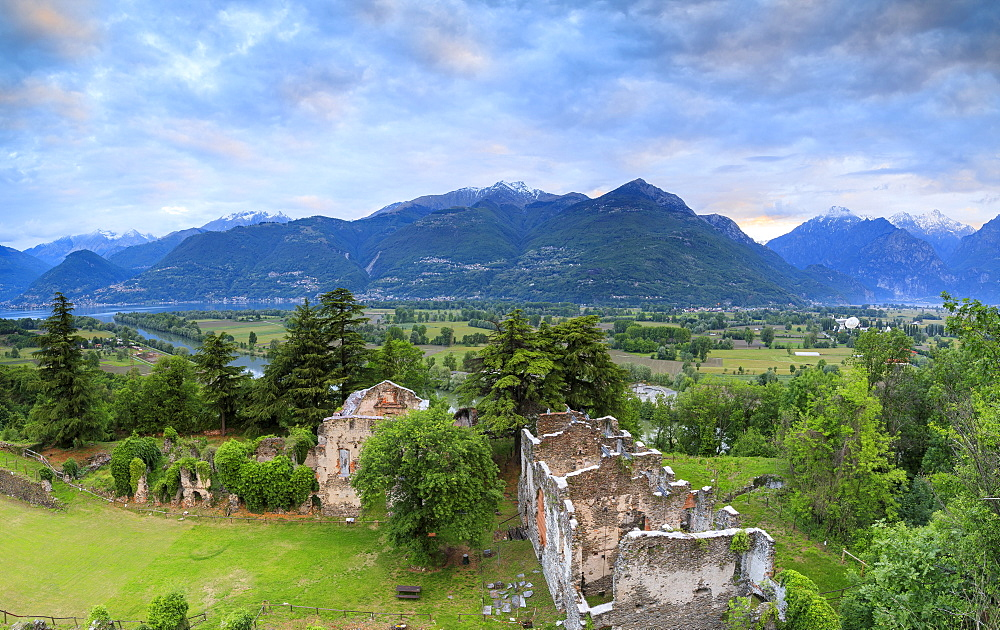 Panorama of ancient ruins of Fort Fuentes framed by green hills at dawn, Colico, Lecco province, Valtellina, Lombardy, Italy, Europe - 1179-2286