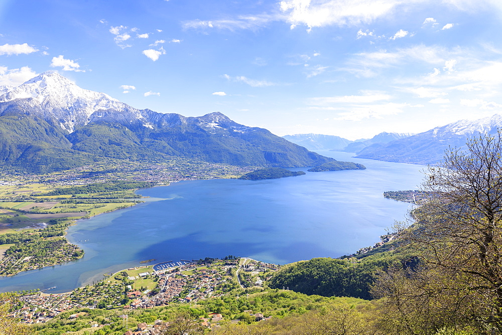 Top view of Lake Como and villages framed by snowy peaks Montemezzo Alpe Zocca Lombardy Italy Europe - 1179-2305
