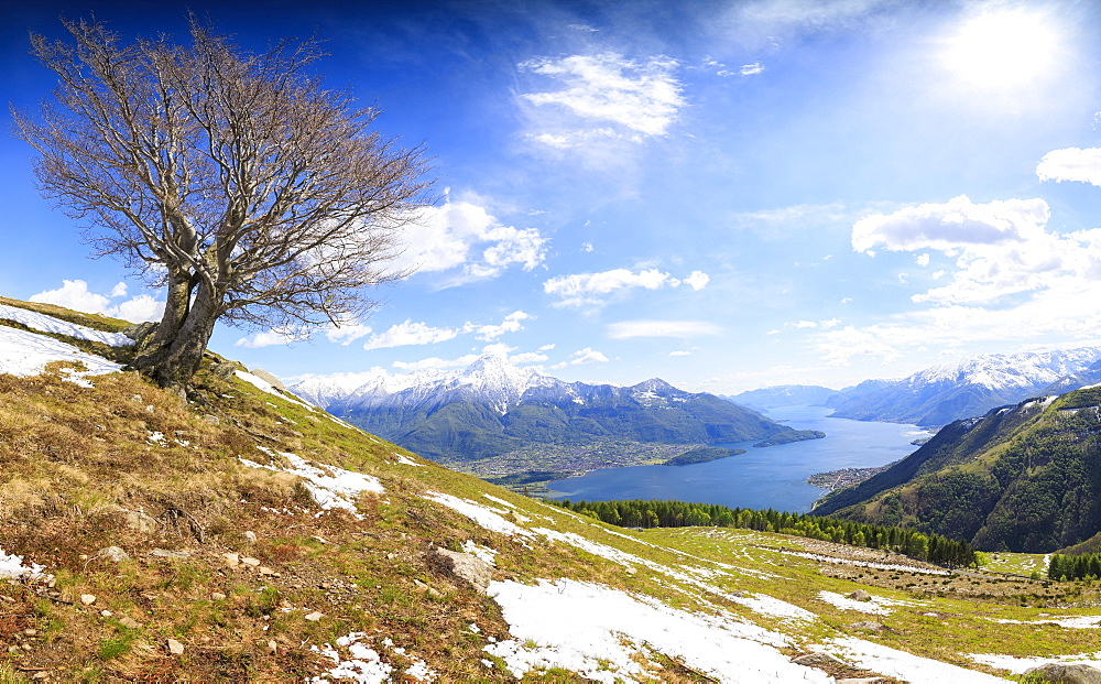 Panorama of meadows partially covered with snow with Lake Como on the background Montemezzo Alpe Zocca Lombardy Italy Europe - 1179-2306