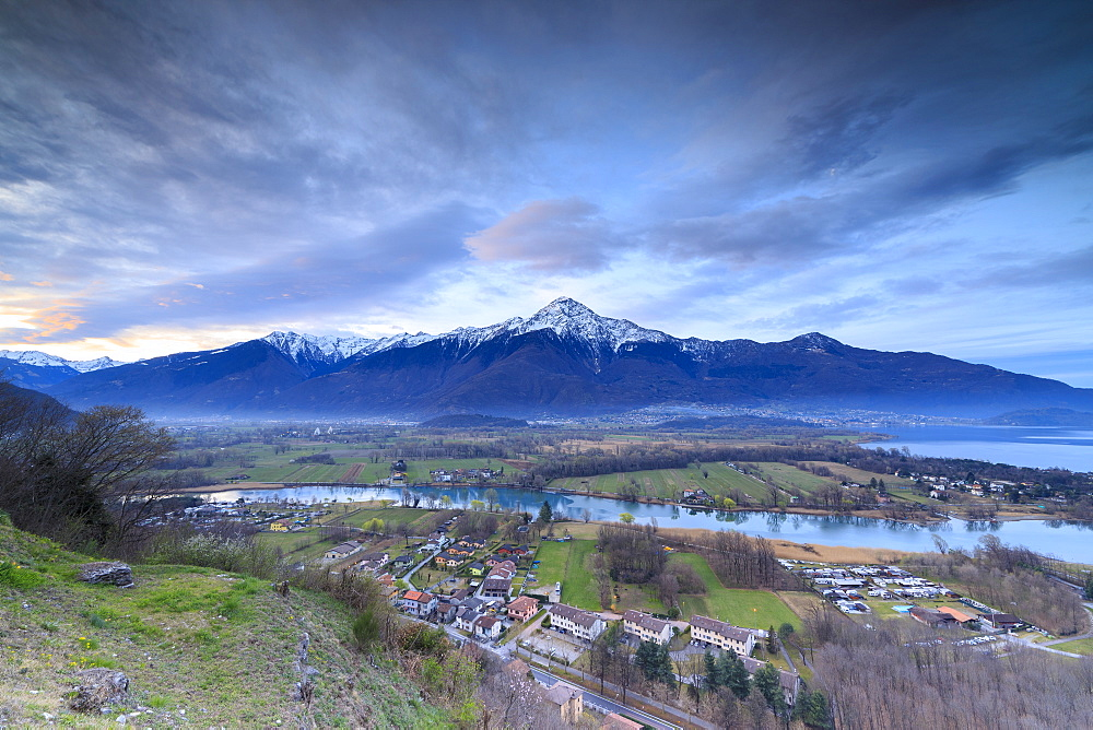 View of Sorico at dawn framed by Lake Como and snowy peaks seen from Chiesa Di San Miro, Province of Como, Lombardy, Italy, Europe