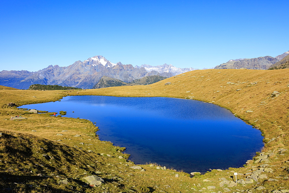 The blue Lakes of Campagneda framed by Monte Disgrazia Malenco Valley Lombardy province of Sondrio Valtellina Italy Europe
