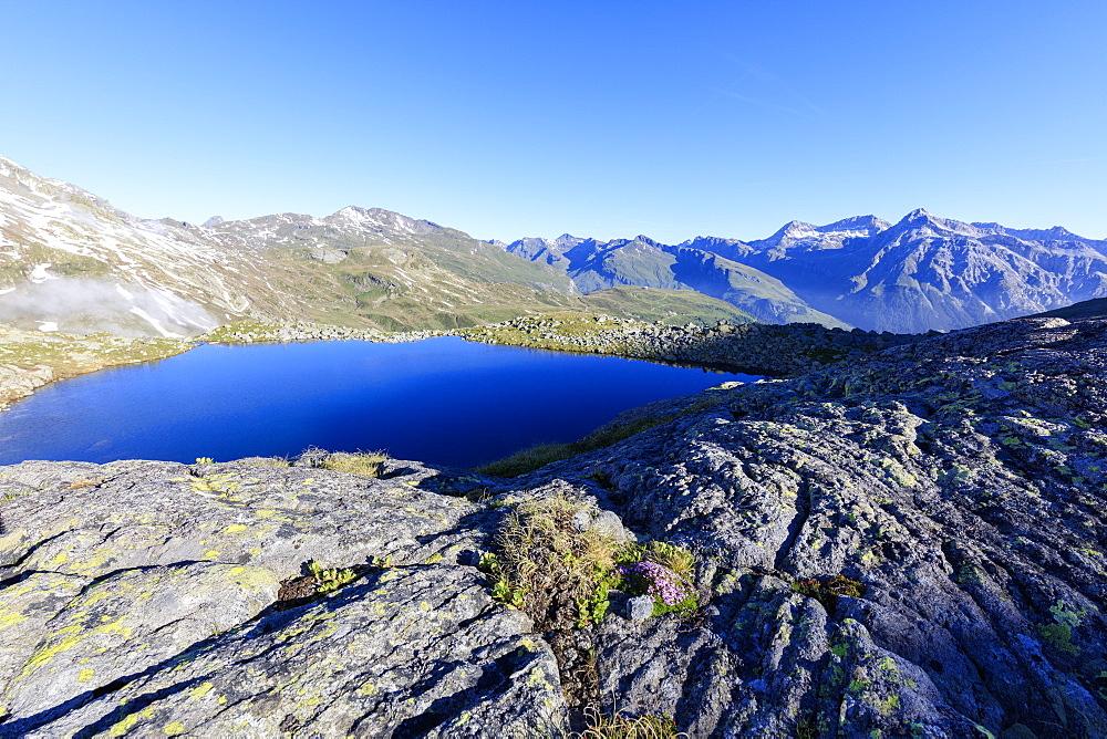 Lake Bergsee at sunrise, Chiavenna Valley, Spluga Valley, Spluga Pass, province of Sondrio, Lombardy, Valtellina, Italy
