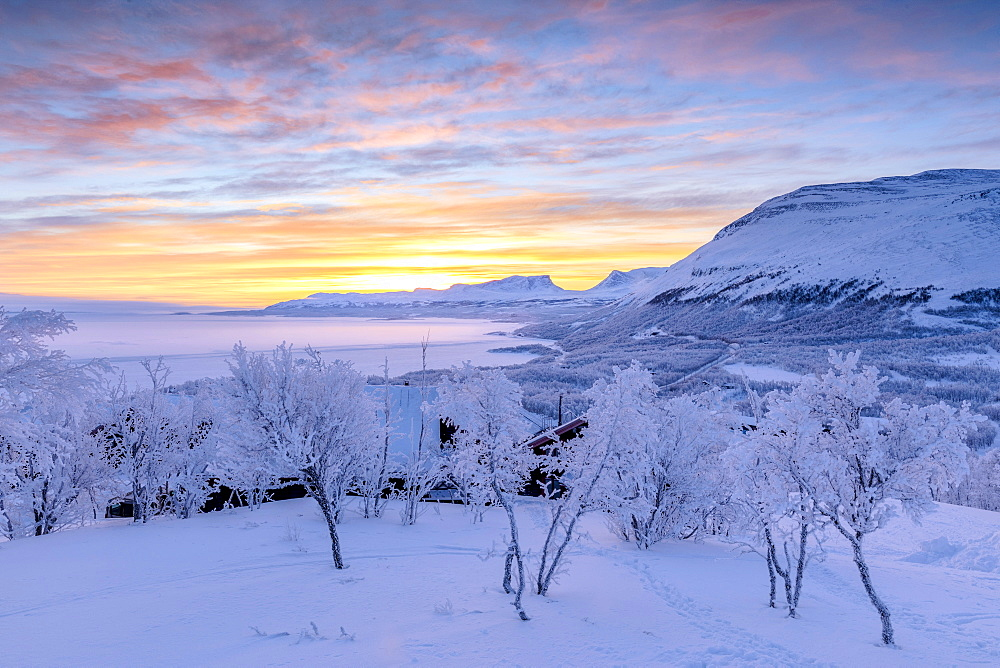 Colorful sky at sunrise, Bjorkliden, Abisko, Kiruna Municipality, Norrbotten County, Lapland, Sweden, Scandinavia, Europe - 1179-2500