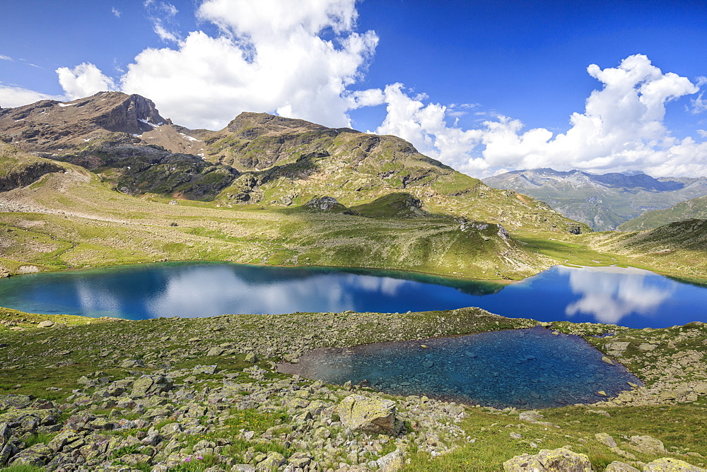 Blue water of alpine lake, Leg Grevasalvas, Julierpass, Maloja, Engadine, Canton of Graubunden, Swiss Alps, Switzerland, Europe