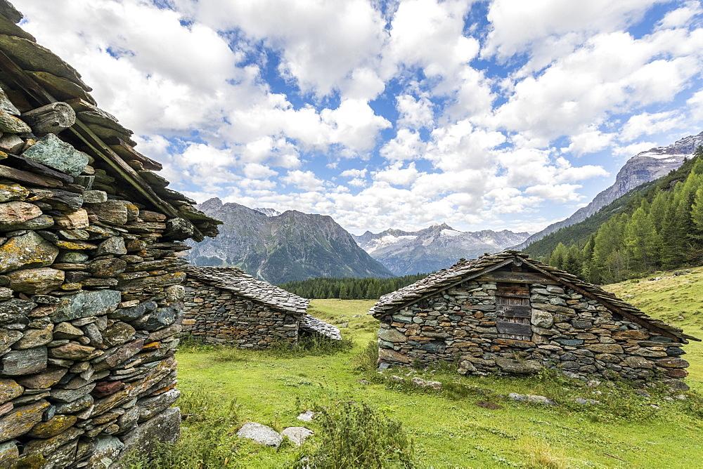 Typical alpine stone huts, Entova Alp, Malenco Valley, Sondrio province, Valtellina, Lombardy, Italy