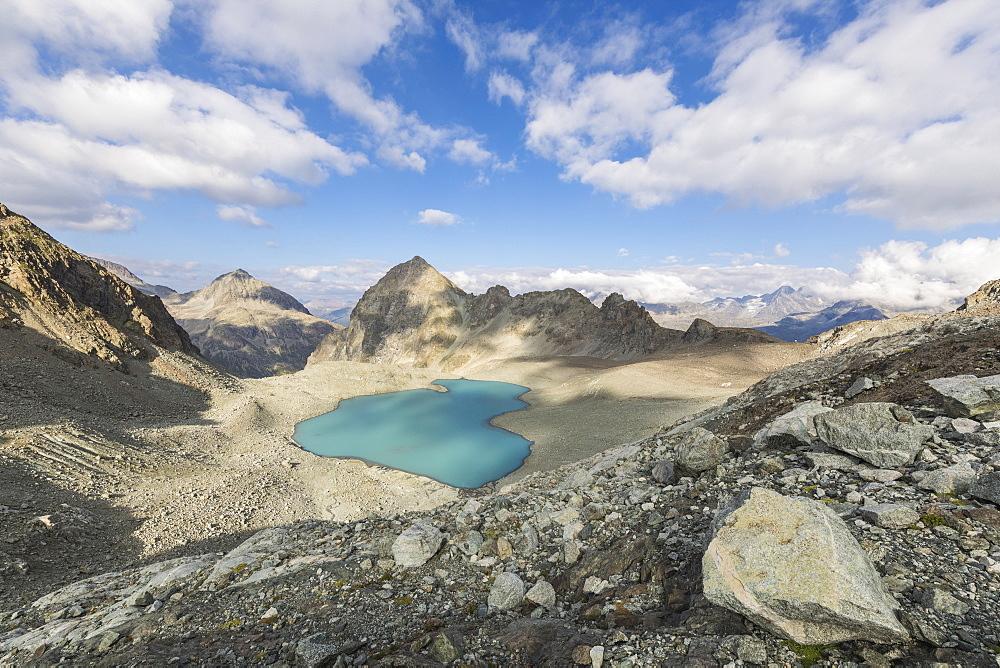 Turquoise water of Lej Lagrev during summer, Silvaplana, canton of Graubünden, Engadine, Switzerland - 1179-2556