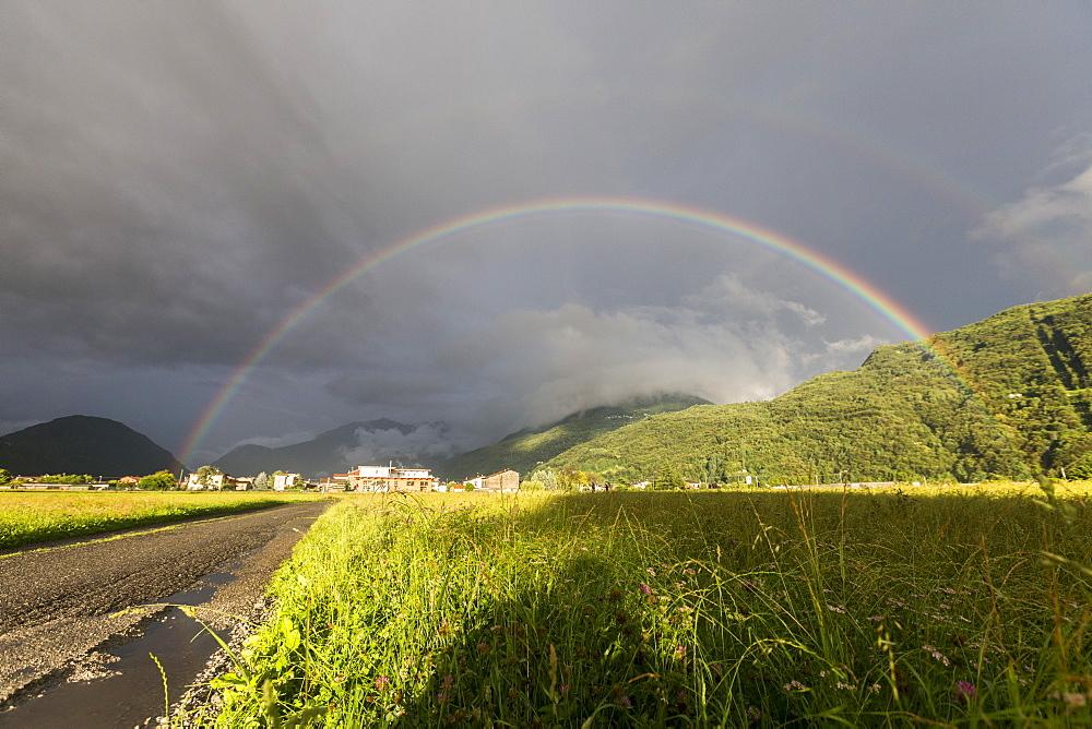 Rainbow over green fields of countryside, Cosio Valtellino, Sondrio province, Valtellina, Lombardy, Italy, Europe