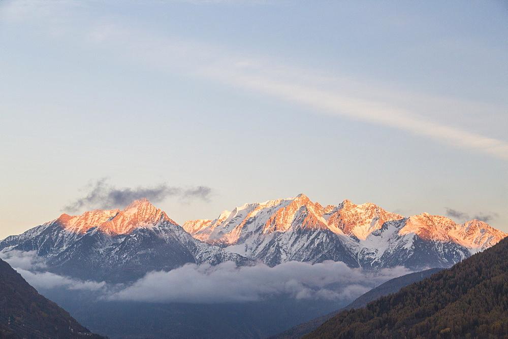 Snowy peaks at sunset, Ponte Di Legno, Brescia province, Valcamonica, Lombardy, Italy - 1179-2594
