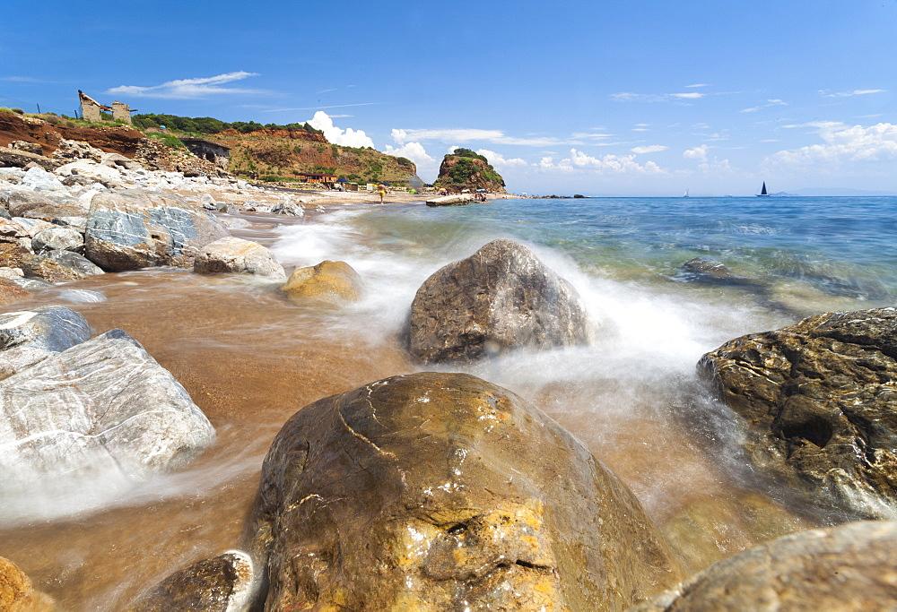 Waves crashing on rocks, Cala Seregola, Capo Pero, Elba Island, Livorno Province, Tuscany, Italy, Europe