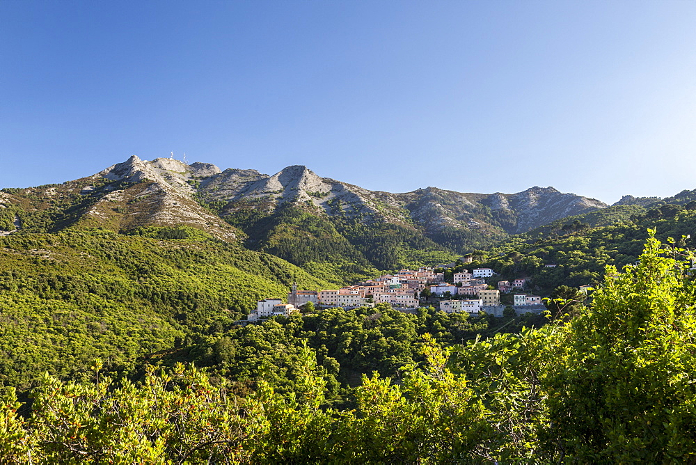 The village of San Piero in Campo at the foot of Monte Capanne, Elba Island, Livorno Province, Tuscany, Italy - 1179-2600