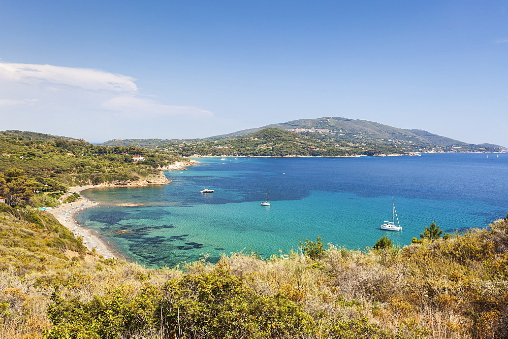 Overview of sand beach and turquoise sea, Sant'Andrea Beach, Marciana, Elba Island, Livorno Province, Tuscany, Italy, Europe
