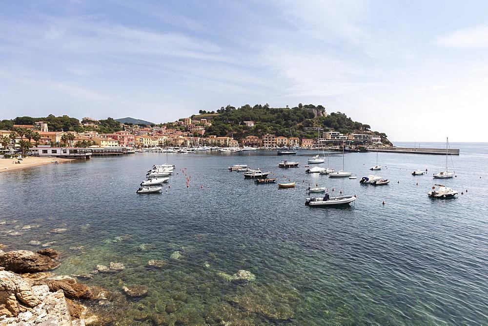 Boats moored in the harbor, Porto Azzurro, Elba Island, Livorno Province, Tuscany, Italy - 1179-2624