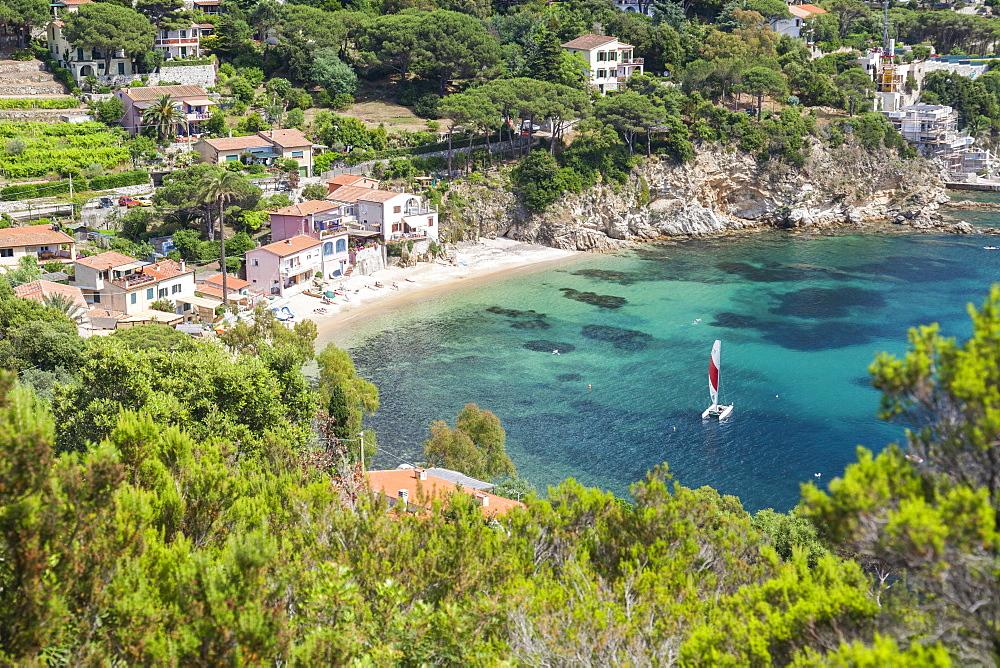 Sailboat in the turquoise sea, Porto Azzurro, Elba Island, Livorno Province, Tuscany, Italy - 1179-2626
