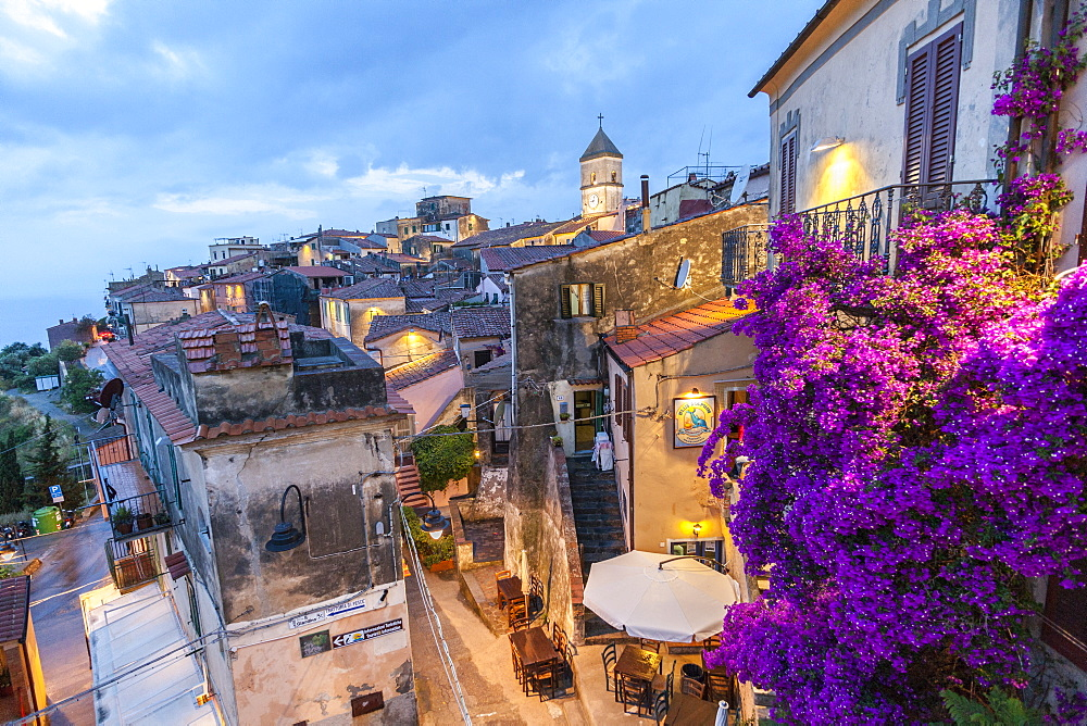 Old town at dusk, Capoliveri, Elba Island, Livorno Province, Tuscany, Italy, Europe