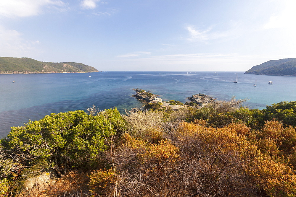 Overview of blue sea from the inland, Lacona, Capoliveri, Elba Island, Livorno Province, Tuscany, Italy