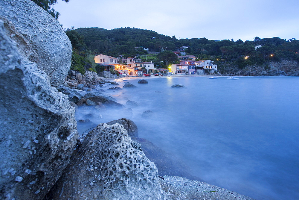 The calm sea at dusk, Marina di Campo, Elba Island, Livorno Province, Tuscany, Italy, Europe