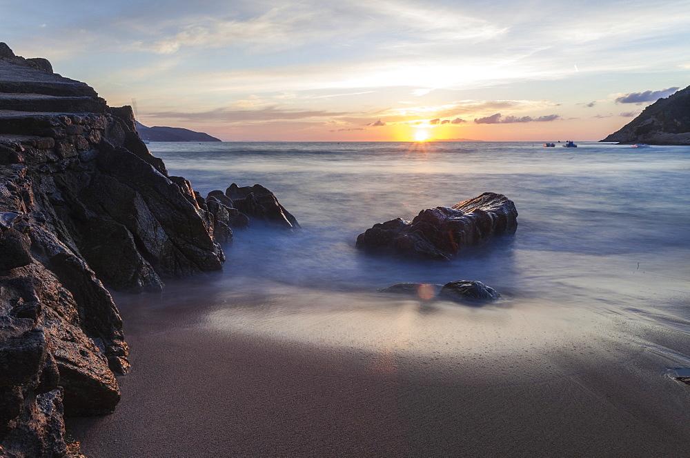 Sunset on La Crocetta beach, Marciana Marina, Elba Island, Livorno Province, Tuscany, Italy, Europe