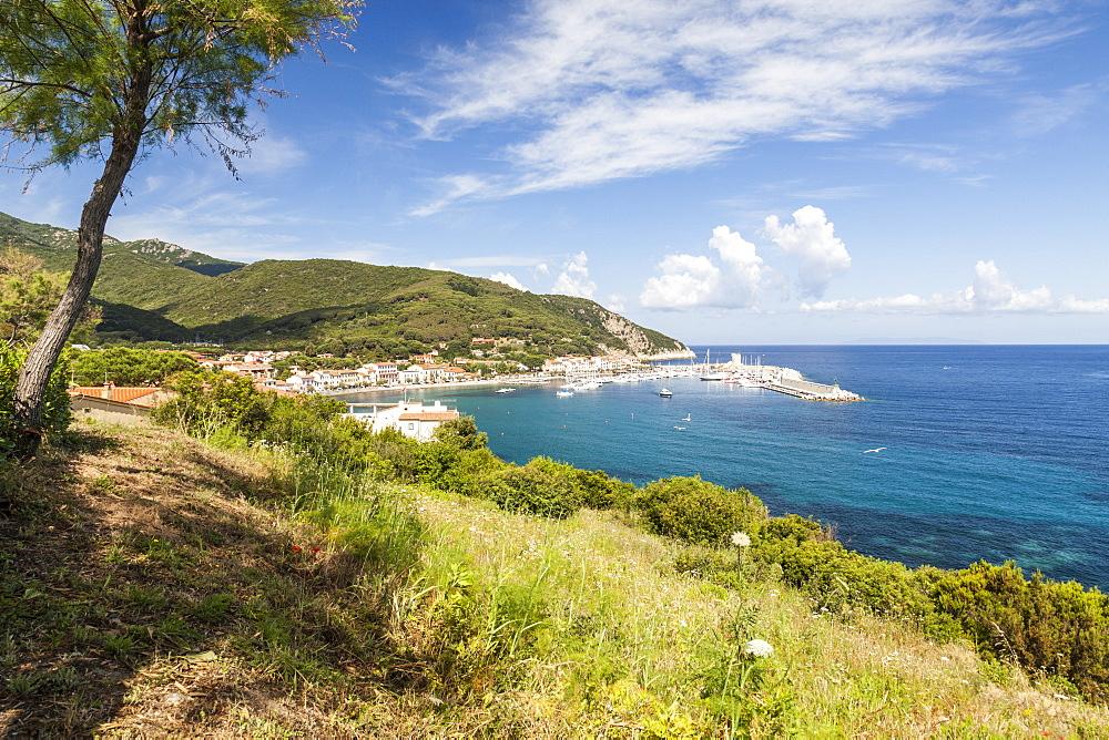 Overview of harbor and turquoise sea, Marciana Marina, Elba Island, Livorno Province, Tuscany, Italy - 1179-2655