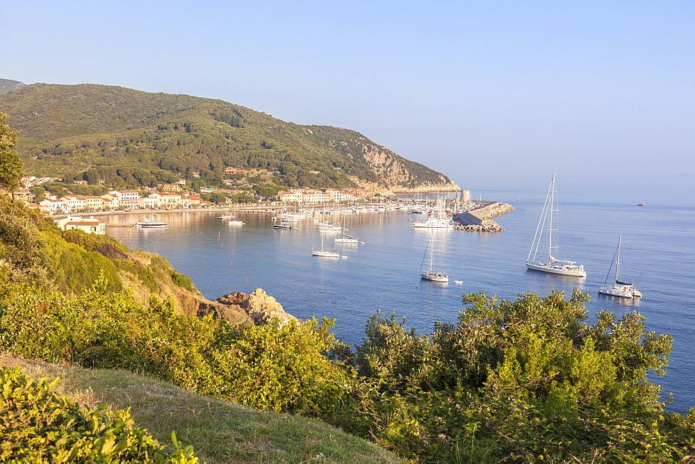 Sailboats in the old harbor, Marciana Marina, Elba Island, Livorno Province, Tuscany, Italy - 1179-2660
