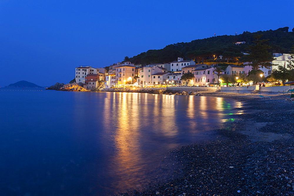 The old village of Marciana Marina at dusk, Elba Island, Livorno Province, Tuscany, Italy - 1179-2661