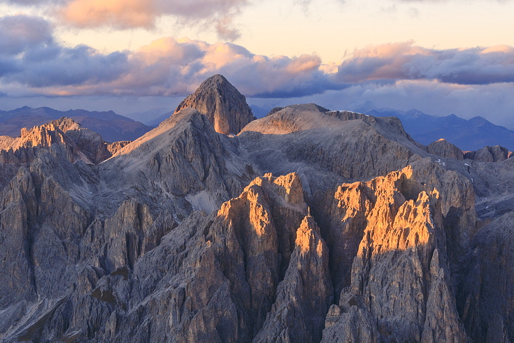 Aerial view of Catinaccio Group (Rosengarten) at sunset, Dolomites, South Tyrol, Italy, Europe