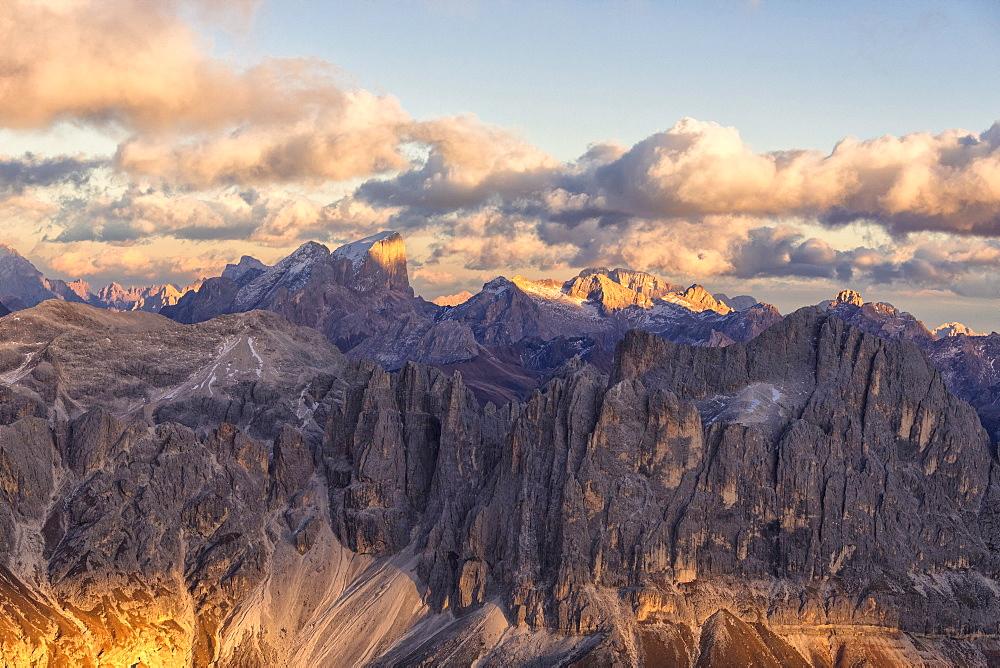 Aerial view of Catinaccio Group (Rosengarten), Torri Del Vajolet, Marmolada, Dolomites, South Tyrol, Italy, Europe