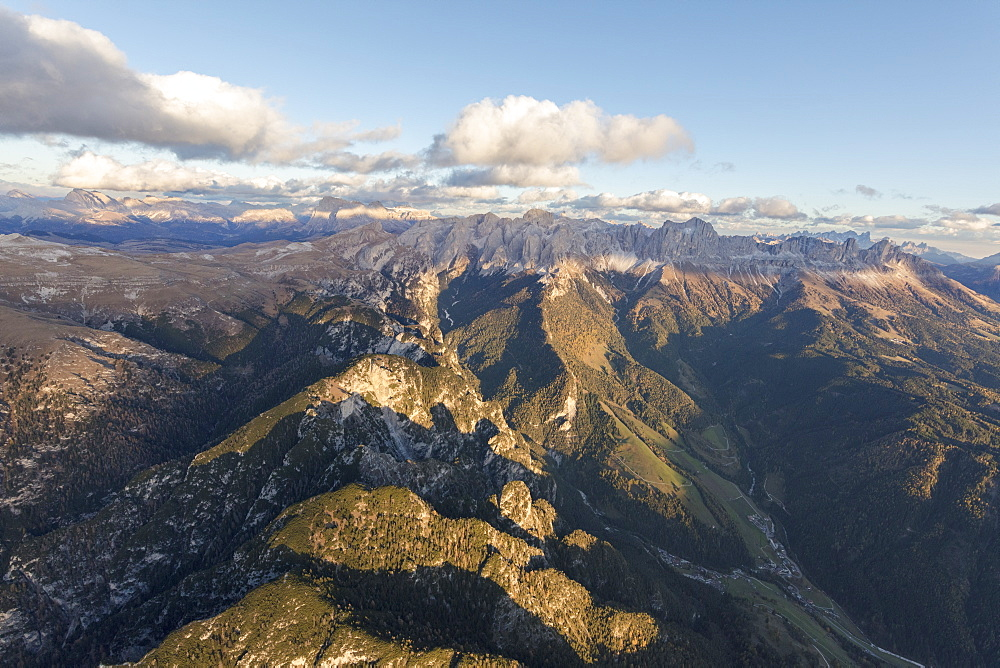 Aerial view of the rocky peaks of Catinaccio Group (Rosengarten), Val Di Tires, Dolomites, South Tyrol, Italy, Europe