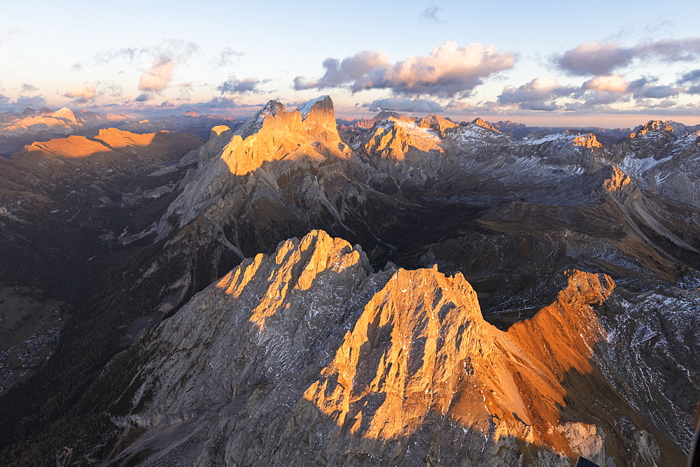 Aerial view of Colac, Gran Vernel and Marmolada, Dolomites, Trentino-Alto Adige, Italy, Europe